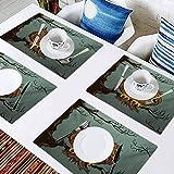 L'sWOW - Juego de 8 manteles individuales resistentes al calor para mesa de comedor, diseño de búho agotado y resaca cansada en roble, para uso diario en interiores o exteriores o cenas