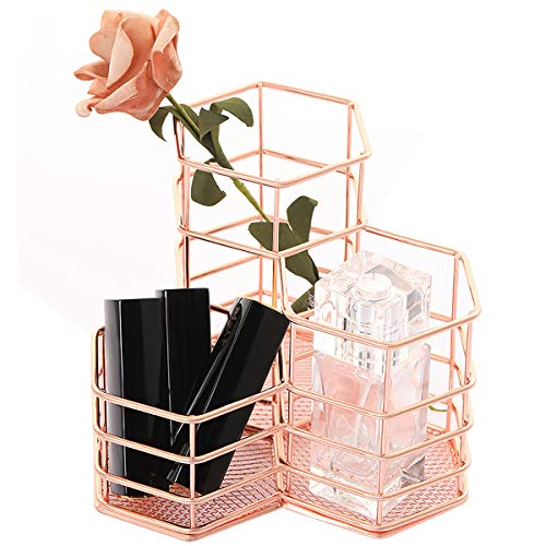 STARUN Rose Gold Desk Office Organizer and Accessories Pen Holder Pencil Holder Office Supplies Cosmetic Storage Makeup Brush Holder with 3 Compartments