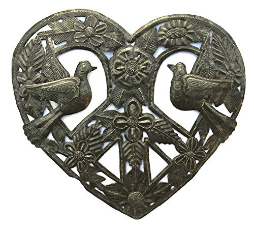 Metal Peace Sign Heart Haitian Wall Decor, Decoration of Love and Friendship Wall Hanging Plaques, Tree, Peace, Handmade in Haiti, 12 in. X 12 in. (Heart with Peace Sign)