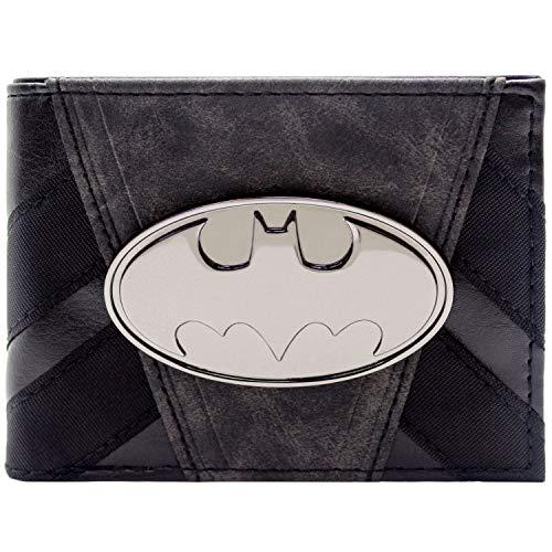 DC Batman Costume a Strisce Distintivo Metallico Nero Portafoglio