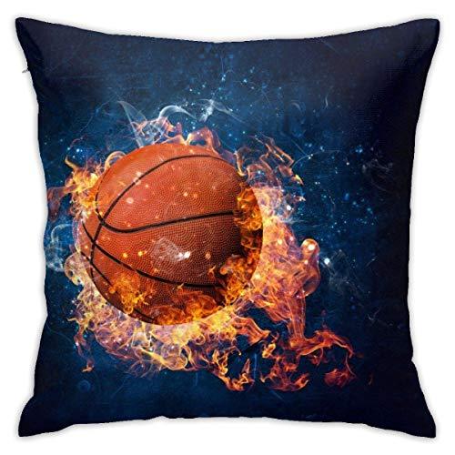 BUXI Printing Pillowcase,Funda De Cojín De Baloncesto Fire, Fundas De Cojines Decorativos para Correr, Escalar, Viajar,50x50cm