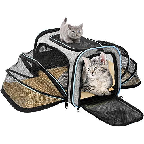 OMORC Transportin Gato Perro, Bolsa de Transporte Transpirable para Mascotas, Estructura Sólida Fácil de Almacenamiento y Espaciosa, 76*46*25CM, Cómodo Bolso para Transporte en Tren, Coche, Avión