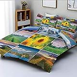 Juego de funda nórdica, collage con coloridos paisajes de verano, nubes idílicas de la Madre Tierra, prados y SunDecorative Juego de cama de 3 piezas con 2 fundas de almohada, multicolor, el mejor reg