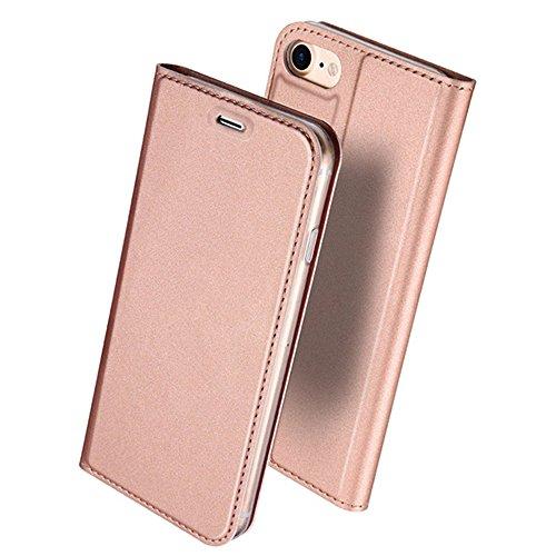 iphone6s ケース 手帳型 高級PU レザー iPhone6 ケース カバー 耐衝撃 カード収納 マグネット スタンド 機能付き 耐摩擦 人気 おしゃれ アイフォン6 手帳型ケース (ローズゴールド)