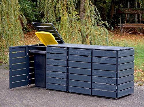 4er Mülltonnenbox / Mülltonnenverkleidung 240 L Holz, Deckend Geölt Anthrazit Grau