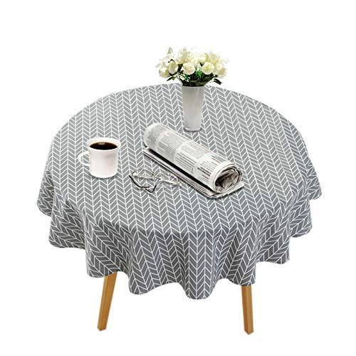 Runde Tischdecke,Baumwolle Leinen Tischdecken,Staubdichte und wasserdicht für die Tischdekoration in der Küche