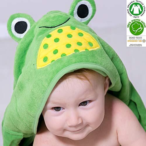 Bio bébé Serviette de bain à capuche% 100 Certifié GOTS, 0–2 ans, taille 75 cm x 95 cm Serviette éponge 450 g/m², Little Green Frog