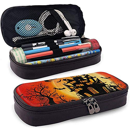Happy Halloween Heks Kasteel Maan PU Lederen Potlood Pen Bag Pouch Case Houder benodigdheden voor Student Cosmetische Make-up Bag