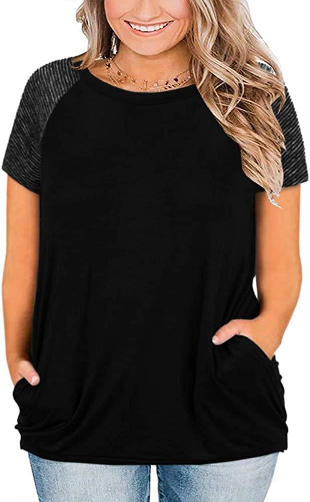 Womens Short Sleeve Plus Size Tops Raglan Shirts Summer Striped Crewneck Casual Loose T-Shirts with Pockets