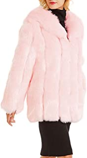 Women Fuax Fur Coat Long Sleeve Plus Size Parka Jacket Winter Warm Thick Fluffy Outerwear Overcoat