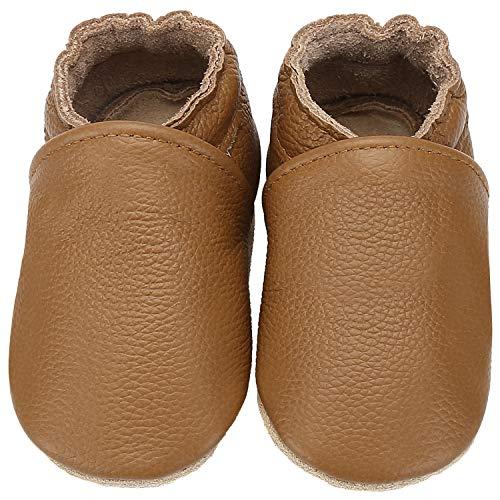 Yavero Leder Krabbelschuhe Leicht Lauflernschuhe Jungen Mädchen Weiche Sohle Baby Hausschuhen Bequem Lederpuschen, Braun 12-18 Monate