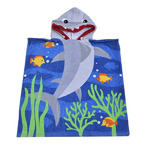 SearchI Toalla de Baño Playa Encapuchado Poncho para Niños, 100% Algodón ranspirable Albornoces de Dibujos Animados Tiburón Infantiles Secado Rápido Bata de Baño Bebé Manta de Baño