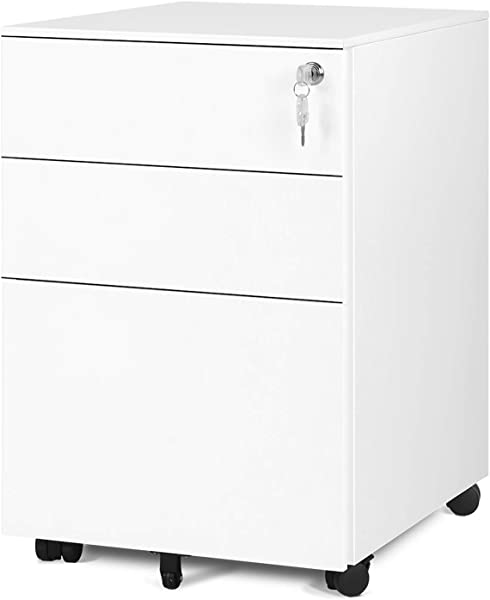 DEVAISE Locking File Cabinet 3 Drawer Rolling Pedestal Cabinet Fully Assembled Except Caster White