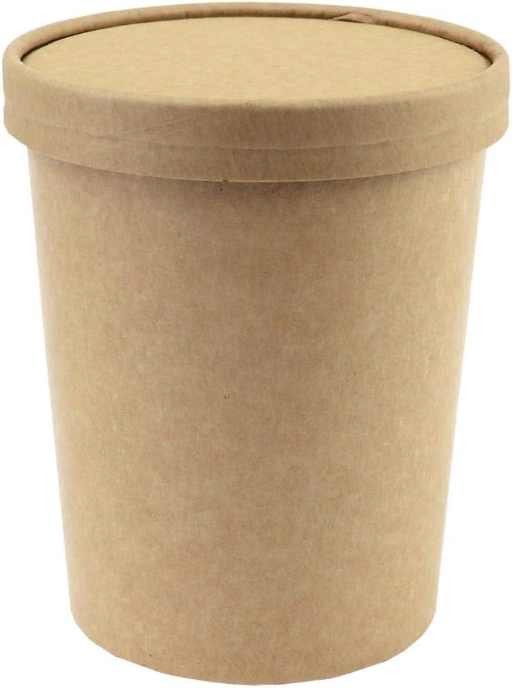 250 Manufacturer regenerated product Count Popular overseas 32 oz Paper Freezer Kraft Containers and Pape Lids -