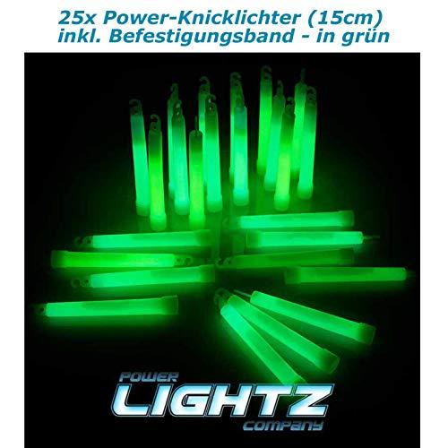 Power Lightz 25 Stück Power-Knicklichter (1,5 x 15 cm) in grün mit Haken und Befestigungsband, sehr robust und Lange Leuchtend für Outdoor, Freizeit, Camping, Tauchen oder Notlicht