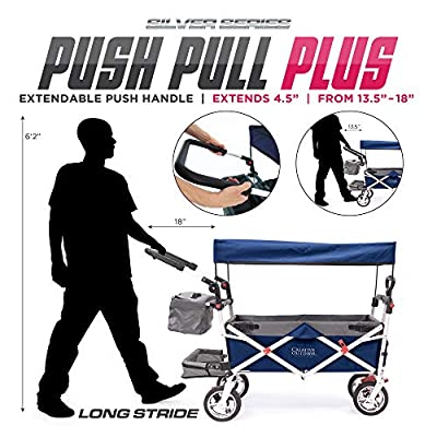 Creative Outdoor Push Pull Collapsible Folding Wagon   Silver Series Plus   Beach Park Garden & Tailgate   Navy Blue with Canopy from Creative Outdoor Distributor