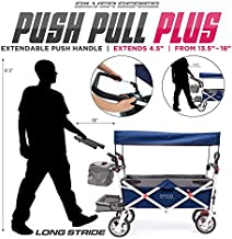 Creative Outdoor Push Pull Collapsible Folding Wagon | Silver Series Plus | Beach Park Garden & Tailgate | Navy Blue with Canopy