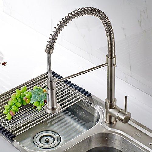 Timaco Wasserhahn Küche Einhandmischer für Küchen Spüle Gebürsteter Nickel Geschirrbrause Federbrause Mischbatterie Küchenarmatur Spültisch Armatur - 4