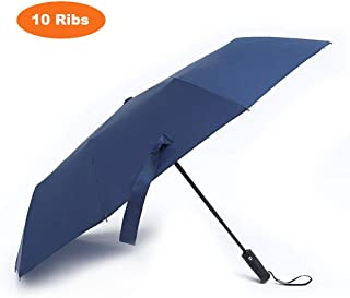 Loplay 10 Ribs Compact Travel Umbrella, Windproof, Waterproof, Auto Open/Close Folding UV Rain Umbrella (Navy Blue)