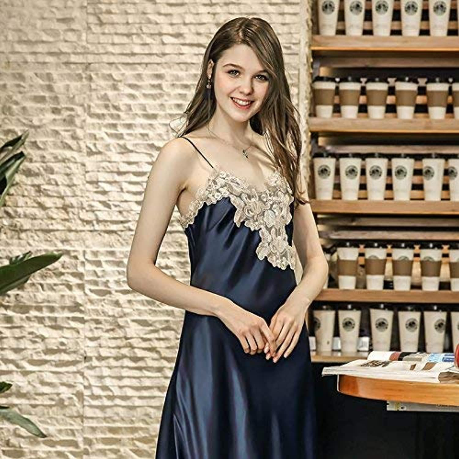 Nightshirt, Sexy Pajamas Female Summer Long Section Split Embroidery Straps Nightdress Female Summer Simulation Silk Home Service (color   Navy, Size   L) (color   Navy, Size   Large)