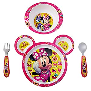 FEEDING SET FOR KIDS: Sectioned plate, deep bowl and stainless steel flatware with Disney characters MEALTIME SET: Dishwasher safe and made without BPA EASIER SELF-FEEDING: Flatware set with easy grip plastic handles and deep bowl that makes scooping...