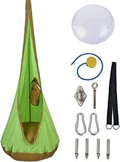 Patio Guarder Hanging Pod Swing Kid Swing Chair, Nylon Children Hammock Seat, Hardware Accessories Included, Green