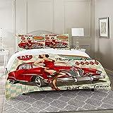 DIIRCYB Bettbezug-Bettwäsche,Diner Hot Dog Vintage Pin Up Girl and Retro Car 1950S Cozy,Mikrofaser-1 Bettdecke-Bettlaken 240×260CM und 2 Kissenbezüge 50×80CM