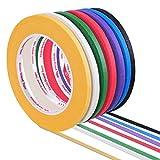 YoungRich 7 Rollos Cinta Adhesiva Colorida,Masking Papel Tape decorativa cinta de carrocero para Niños Manualidades,Diseño de Libros,Etiquetado o Codificación,Regalos Warpping(5mm ancho)