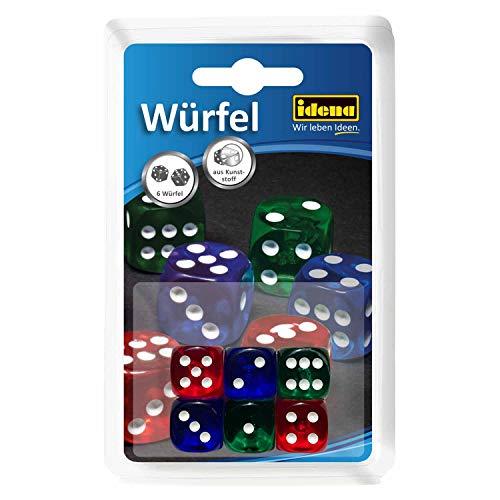 Idena 6109055 - Würfelset mit 6 Augenwürfeln, aus Kunststoff, bunt, Kantenlänge ca. 1,6 cm, für Spieleabende mit Freunden und Familie