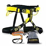 KwikSafety (Charlotte, NC Mandrill Comfort Climbing Harness (Free Tool Lanyard & Carabiner!) Lightweight Padded Adjustable Half Body Waist Belt Heavy Duty 310lb Limit Mountain Rock Tree Arborist