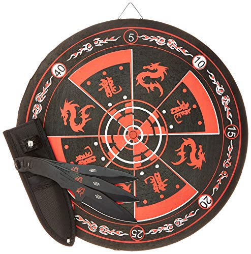 Perfect Point PP-075-3BK Thrower with Target Board (3-Piece), 8-Inch , Black