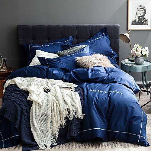 yaonuli Juego de Bordado de algodón en Color Liso de Cuatro sábanas Simples de algodón para edredón de Cama de 2.0 m (Funda de edredón de 220x240 cm)