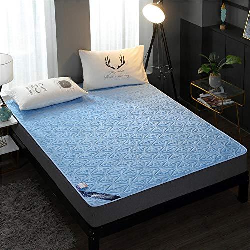 YFGY Sábana Bajera Ajustable de fácil Cuidado,Funda de colchón Acolchada Impermeable, Protector de sábana Ajustable para Dormitorio de Ancianos y niños Azul Cielo Individual 90 * 200 cm