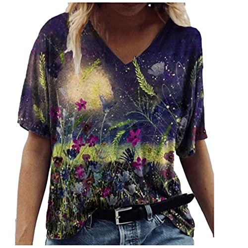 AMhomely Camisa y blusas para mujer, de manga corta, con impresión en V, informal, blusa tipo túnica, blusa para oficina, talla Reino Unido