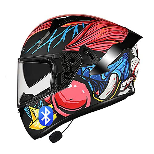 Bluetooth Modulares Casco Moto para Mujer Hombre Adultos Casco Moto Integrado con HD Doble Visera, Scooter Racing Casco ECE Homologado H,M=55~57CM