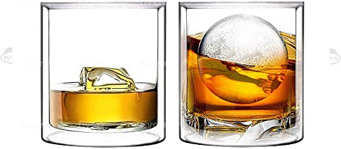 Double Wall Whiskey/Scotch Rocks Glass Set by Sun's Tea️ | 5.5oz | Old Fashioned Drinking & Cocktail Glasses | Clear Insul...