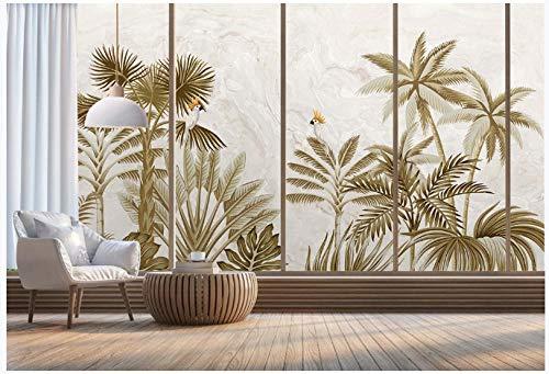 Apoart papel pintado HD creativo europeo pintado a mano paisaje de selva tropical pintura de pared de fondo de mármol 350X245cm(137.79 * 96.45in)