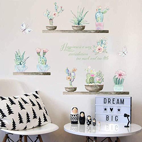 Garten Pflanze Bonsai Blume Schmetterling Wandaufkleber Wohnkultur Wohnzimmer Kaktus Aloe Wandtattoos Diy Wandkunst Pvc Poster