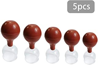 5 piece Cupping Therapy Sets - Glass Facial Vacuum Suction Massage Cups for Wrinkles and Anti Cellulite Body Cup Lymphatic Fascia Massager