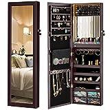 LUXFURNI Armoire à Bijoux avec éclairage LED à Fixer au Mur ou à Suspendre sur Une Porte Miroir de Maquillage verrouillable Armoire de Rangement avec tiroirs