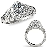 1.25 Carat G-H Diamond Fancy Designer Filigree Starburst Victorian Engagement Ring 14K White Gold