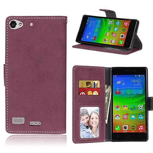BgkjZX Funda Lenovo Vibe X2 - para Lenovo Vibe X2 Funda de Piel Mate,Caja del teléfono de la Ranura de la Tarjeta del tirón de la Anti-caída - Rosa roja