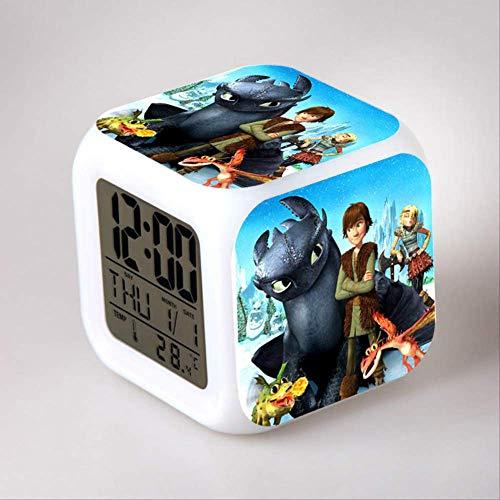 HHIAK666 Dragon Master Wecker, 7 Farbe Farbe Wechsel Stimmung Wecker, Kreative Geschenk Led Quad-Uhr 8Cm 1