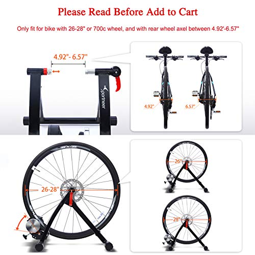 Sportneer Bike Trainer Stand Steel Bicycle Exercise Magnetic Stand with Noise Reduction Wheel for Road Bike (Black)