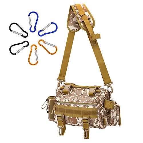 SILIVN フィッシングバッグ タックルバッグ 多機能 3way 大容量 釣りバッグ アウトドア用 釣り用 防水 釣り袋 防水 腰巻き 肩掛け 手持ち カラビナ6点付き
