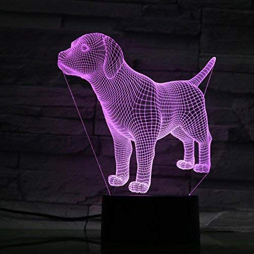 Creative 3D Dog Night Light 7 Colors Changing USB Power Touch Switch Decor Lamp Optical Illusion Lamp LED Table Desk Lamp Children Kids Christmas Brithday Gift