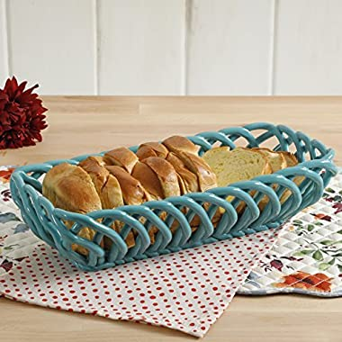 The Pioneer Woman Timeless Beauty 10.7-Inch Turquoise Bread Basket