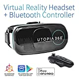 Utopia 360° Virtual Reality Headset with Controller   3D VR Headset for VR Games, 3D Movies, and VR Apps - Compatible with iPhone and Android Smartphones