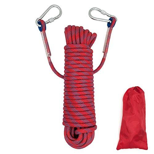 HAIY Kletterseil Outdoor Klettern Sicherheitsseil, Durchmesser 10.5mm mit 2 Karabinern Geflochtenes Nylonseil, Hochfestes Sicherheitsseil Rettungsseil Feuerrettungs-Fallschirm-Seil, Rot Länge 20m