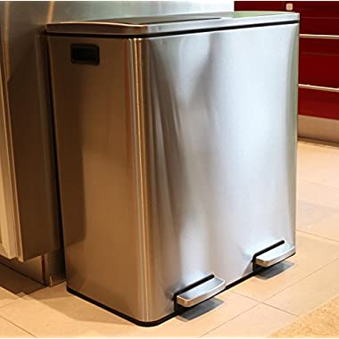 Oliver Smith Extra Large Step Trash Can Recycler Combo, Stainless Steel, Slow Close, 30 L Garbage + 30 L Recycling/16 Gal